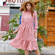 BEFORW 2019 New Women Turtleneck Floral Print Dress Elegant Ruffles Long Sleeve Autumn Dresses Winter Casual Vestidos