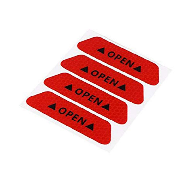 4 шт./компл. двери автомобиля стикеры сделай сам автомобиль открыть светоотрающей полосой Предупреждение отражающая открытая уведомления велосипедные аксессуары для экстерьера - Название цвета: Red
