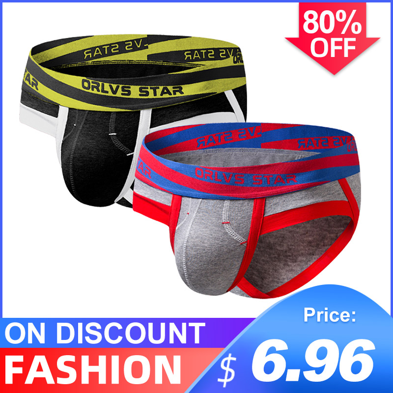 2Pcs/lot Popular Cotton Quick Dry Sexy Undenwear Men Jockstrap Briefs Men's LingerieBikini Gay Men Underwear Male Jock Strap
