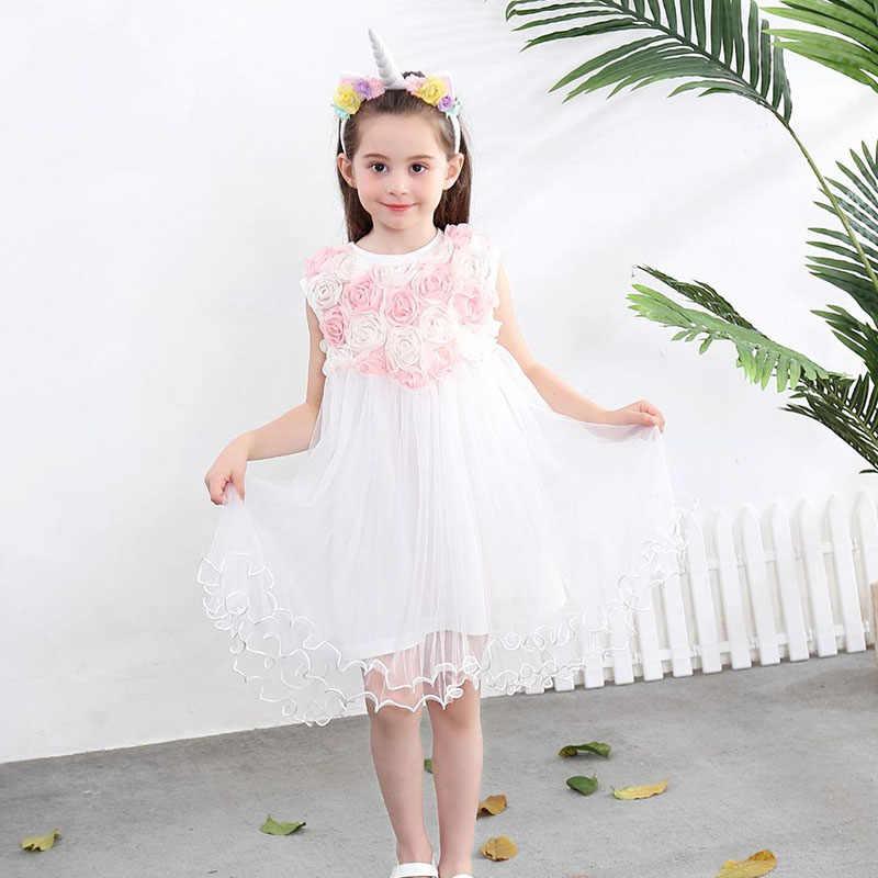 Vestido De Fiesta De Graduación De Flores 3d Para Niñas Vestido Elegante De Malla De Encaje De Princesa Para Niños Vestidos De Fiesta De Cumpleaños De