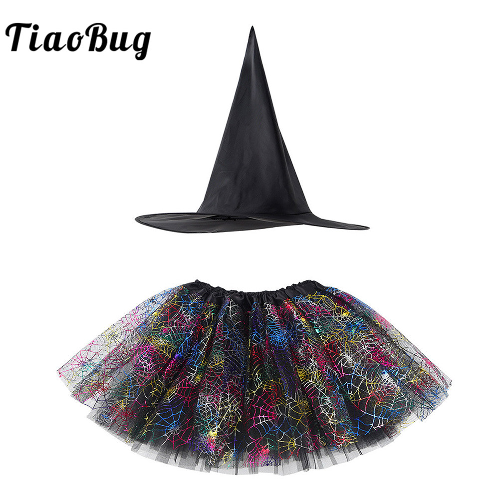 TiaoBug Kids Girls Halloween Costume Children Witch Anime Cosplay Party Set Spider Web Shiny Printed Tutu Skirt with Pointed Hat
