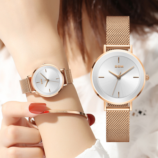 DOM New Women Luxury Brand Watch Simple Quartz Lady Waterproof Wristwatch Female Fashion Casual Watches Clock reloj mujer G 1307
