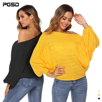 PGSD Autumn winter Women clothes sexy boat neck strapless Bat bishop sleeve solid colour Loose Knitted sweater Pullover female bishop sleeve solid coat