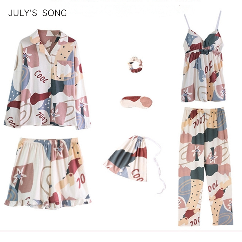 JULY'S SONG Woman Cotton 7 Pieces Pajamas Set Printed Cartoon Leisure Cute Spring Autumn Sleepwear Woman Female Home Wear