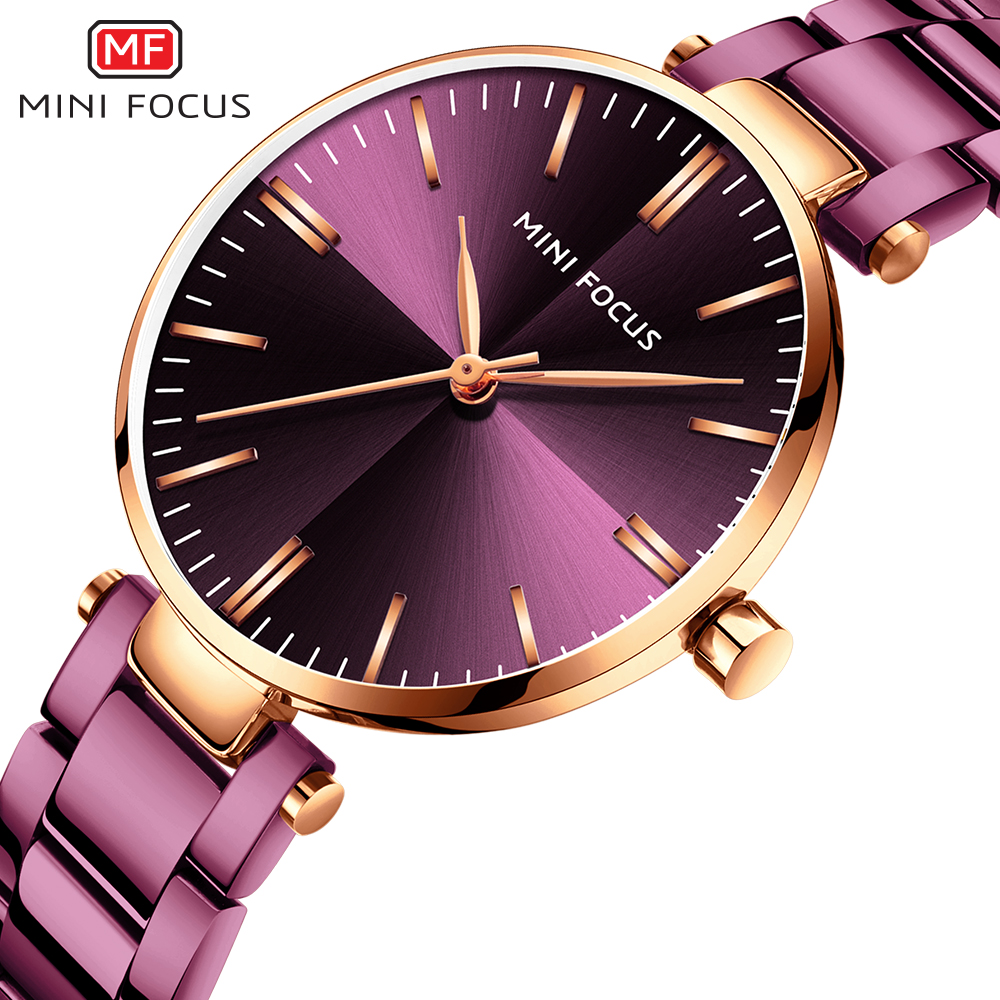 MINIFOUCS Women Watches Simple Ladies Steel Watch Ladys Purple Quartz Waterproof Watches Female Luxury Brand Fashion Clock Girl