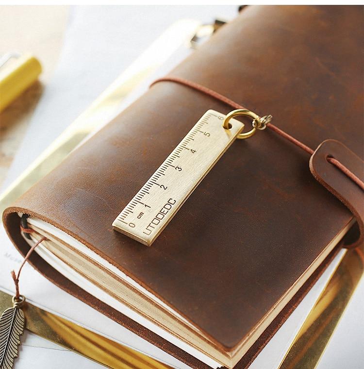 Mini 6cm Metal Cooper Ruler, Cute Straight Rulers Small Pendant Key Rings Kawaii Accessory Tools