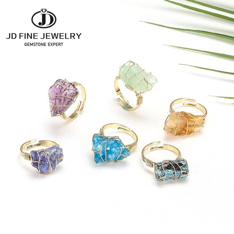 Jd pedra natural fio irregular wrap feminino anéis cura rugosa pedra preciosa jóias fluorite moda dedo anel exclusivo jóias