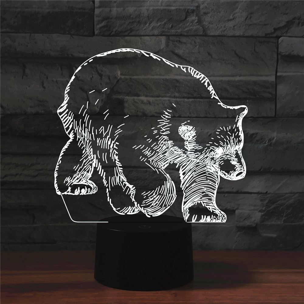 Black Bear 3D LED Light Hologram Illusions 7 Colors Change Decor Lamp Best Night Light Gift For Home Deco