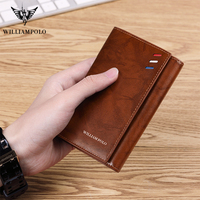 WILLIAMPOLO Brand Men card holder wallets slim Genuine Leather RFID Card Package Credit Card Holder wallet small Card Case purse