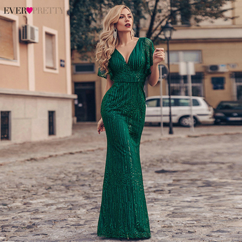 Sexy Mermaid Prom Dresses Ever Pretty EP00838DG Deep V-Neck Sequined Ruffle Sleeve Sparkle Long Party Dresses Gala Jurken 2020