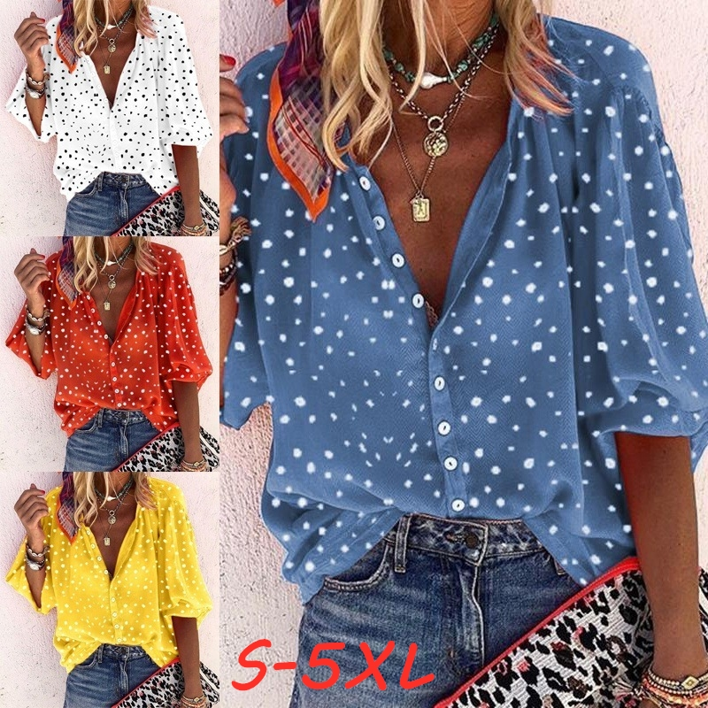 WEPBEL Women's Blouse Loose Casual Shirts Long Sleeved Polka Dot Printing V Neck Button Shirt & Blouses Plus Size Tops S-5XL