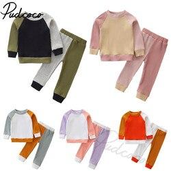 Одежда для новорожденных из 2 предметов, наряд в стиле пэчворк, комплект с длинным рукавом Цвет Блок Комплект из топа и штанов для мальчиков, ...