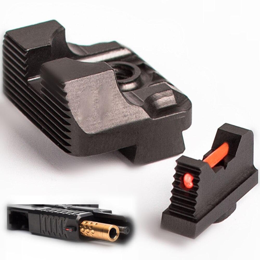 Magorui .230 Fiber Optic Front Sight / Rear Combat Glock Sight V3 Black For Glock
