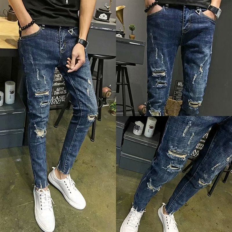 MEN'S Jeans Thin Trend With Holes Slim Fit Elasticity Skinny Pants Black And White With Pattern Casual Capri Pants Fashion