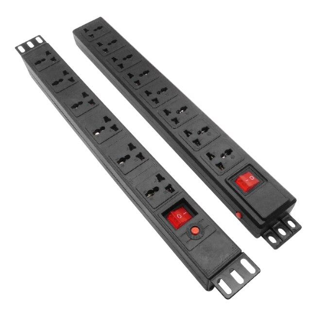 Tira de alimentação do armário de pdu com interruptor 6/8ac universal outlets proteção contra sobrecarga relâmpago extensão soquete 19 Polegada hight power
