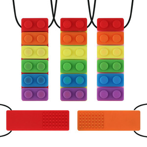 New 1Pcs Baby Teether Rainbow Brick Chew Necklace Baby Silicone Teether Autism Sensory Chew Therapy Tools Kids Chewy Toys(China)
