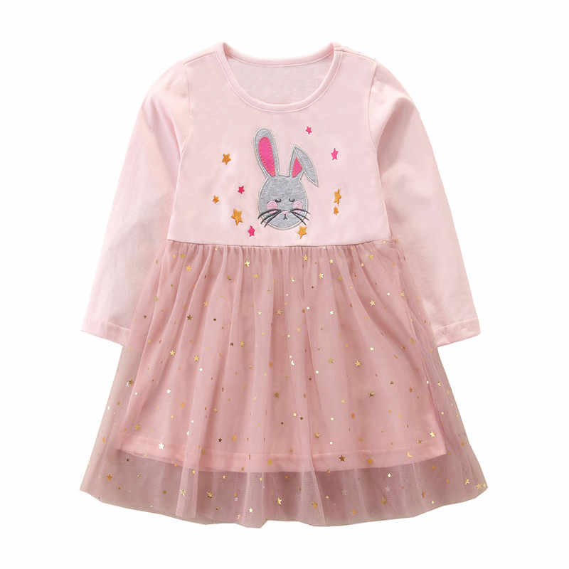 Jumping Meters New Lace Princess Long Sleeve Girls Dresses Tutu For Party Baby Clothing Cute Applique Children Birthday Dresses