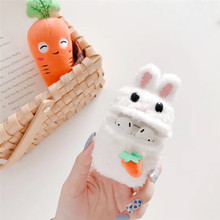 Jamular 3D Cute Cartoon Rabbit Earphone Case for Airpods Knitted Plush Cover Apple 2 Earpods Accessories