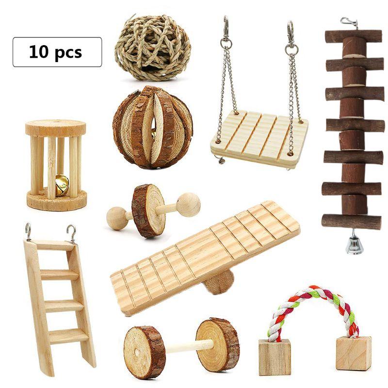 Игрушки для жевания хомяка, натуральные деревянные сосновые морские свинки, крысы, шиншиллы, набор игрушек, 10 упаковок, деревянные жеватель