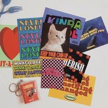 Tarjeta de decoración con imagen de gato americano para postales, marco de fotos, pegatina de regalo, tarjetas de felicitación, arte en inglés, Retro