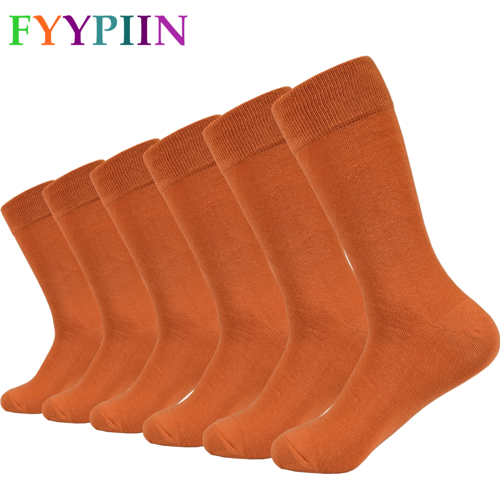 2020 New Men's Socks Orange Men's Cotton Socks Solid Color Wedding Gift Happy Socks