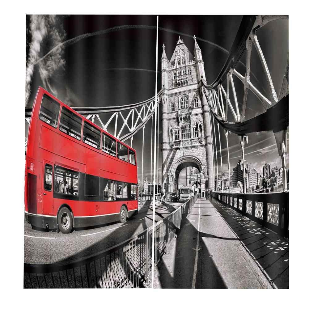 Cortinas de ducha de señal de tráfico de torre de autobús rojo decoración de Londres para sala de estar
