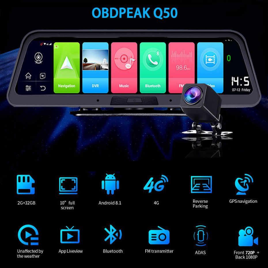 "Smart Android 8,1 10 ""HD 1080P cámara grabadora DVR de coche 4G Wifi navegación GPS de doble lente de cámara de Auto Secretario Super visión nocturna"