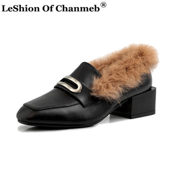 Fashion Women Natural Cow Leather Loafers Ladies Warm Real Rabbit Fur Shoes Woman Size 33-43 Block Heels Pumps zapatos de mujer