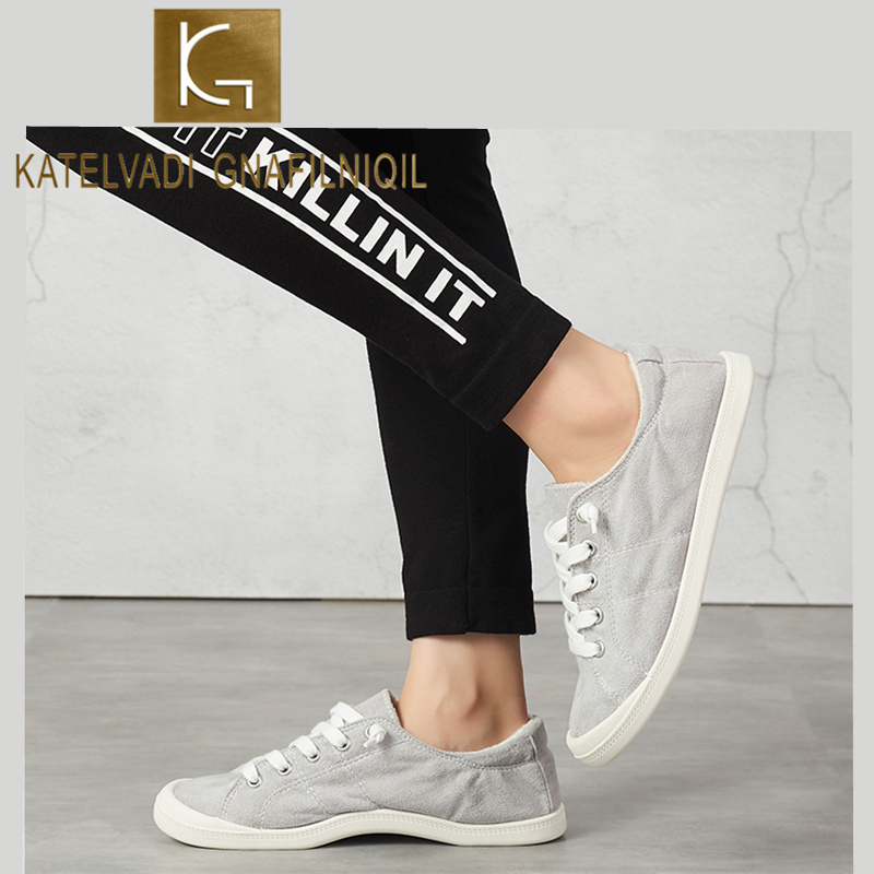 KATELVADI Shoes Woman Gray Canvas Sneakers Lace Up Shoes Flat Loafers Comfortable Vulcanize Shoes Casual SEY004