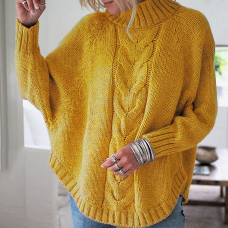 Women Top Harajuku Chic Sweater Autumn Office Lady Batwing Sleeve Yellow Sweater Jumpers Candy Color Loose Sweaters Twisted Pull