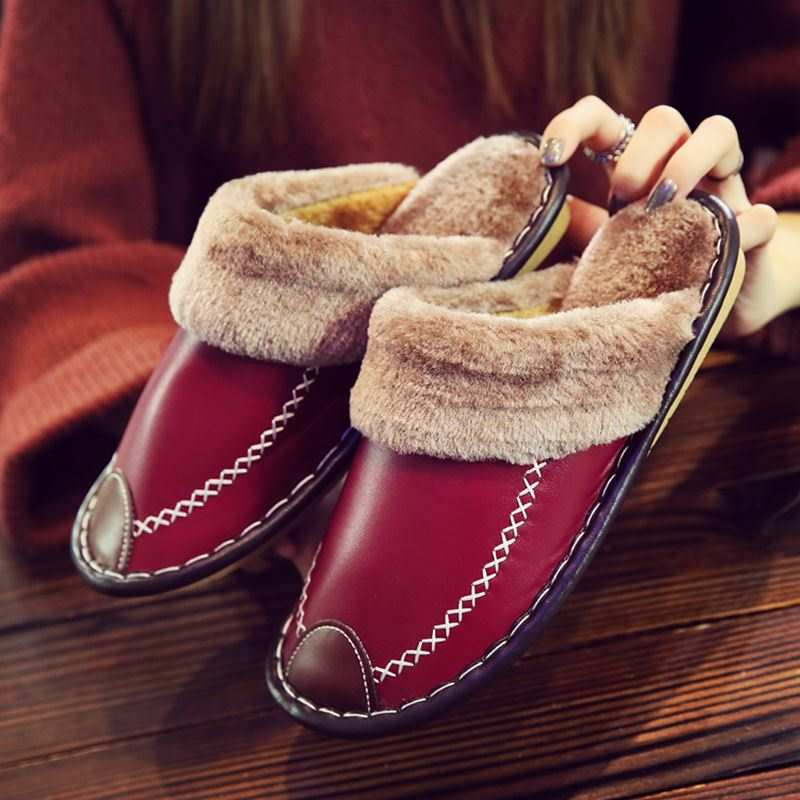 Winter Women Slippers Genuine Leather Home House Indoor Non-Slip Thermal Shoes Men 2019 New Warm Furry Slippers Plus Size