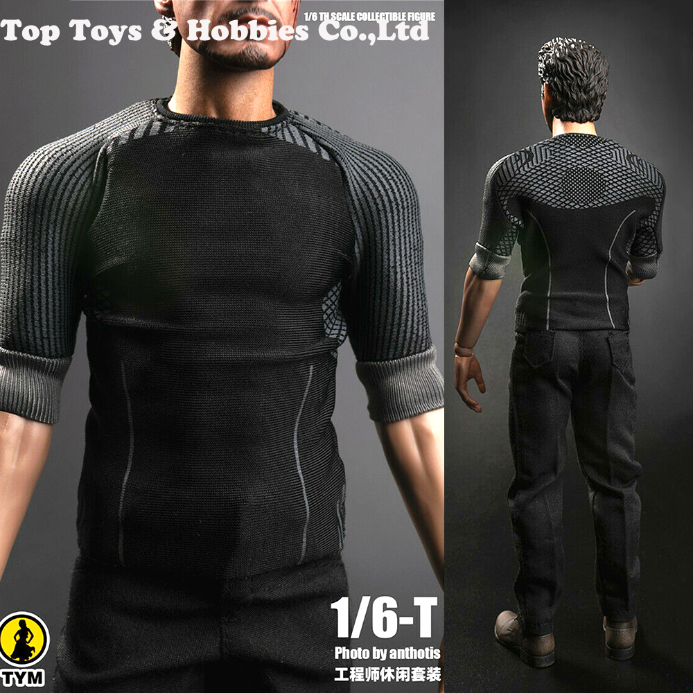 For Collection TYM Toys 1/6 TYM064 Repairman Tony Stark Clothes T Shirt Pants Set Fit For 12