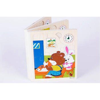 Free shipping Kids Classic wooden 66PCS animal jigsaw puzzle BOOK children wood Educational puzzle toy Forest animal puzzle gift what the ladybird heard animal noises jigsaw book