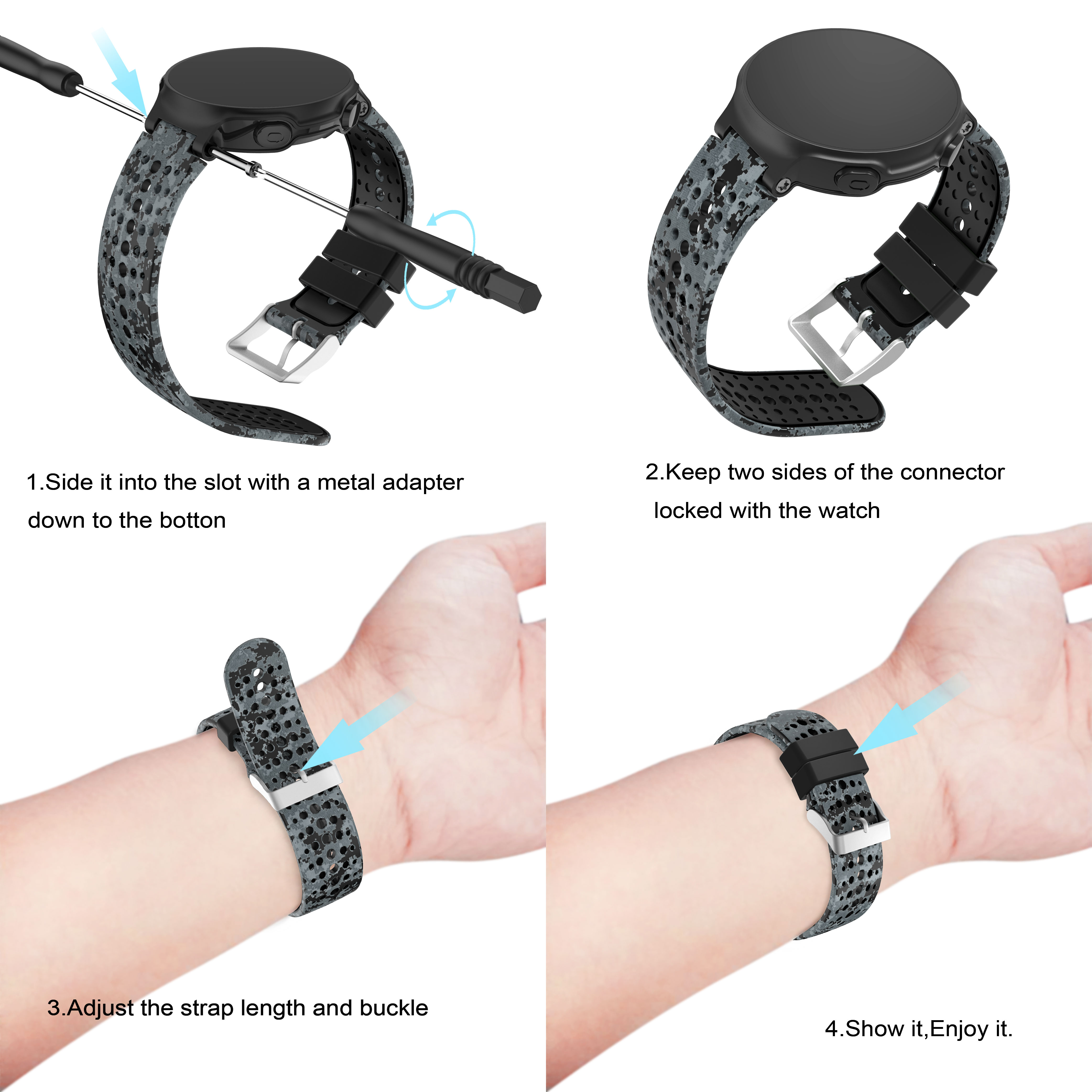 Image 5 - Yayuu Printed Silicone Watch Band For Garmin Forerunner 220/230/235/620/630/735XT Bracelet Replacement Wrist Strap   Buckle band-in Smart Accessories from Consumer Electronics