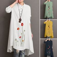 Printed Blouse Shirts Tunic Asymmetrical Floral Plus-Size Women's Long-Tops Female Casual