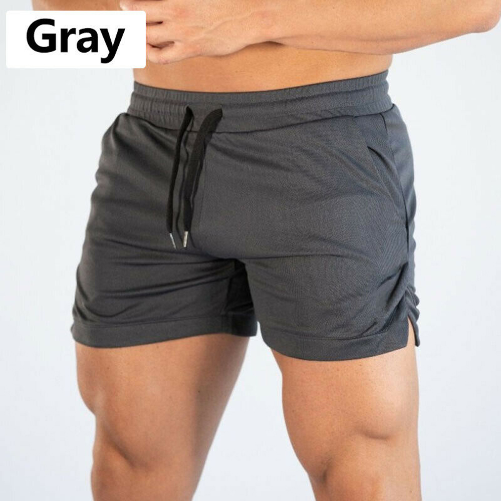Summer Gyms Workout Male Breathable Mesh Quick Dry Sportswear Jogger Beach Solid Shorts Men Fitness Bodybuilding Shorts 8