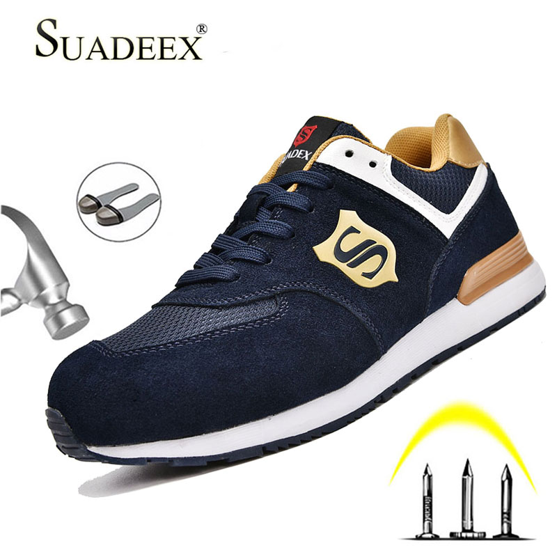 SUADEEX Indestructible Shoes Work Sneakers Breathable Safety Shoes Men And Women Steel Toe Air Safety Boots Puncture-Proof
