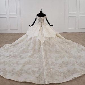 Image 2 - HTL1271 2020 vestido de novia bohemio sin hombros manga corta aplique de lentejuelas Mujer Flor vestido de boda vestido de novia
