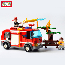 GUDI Blocks Large Fire Rescue Compatible Legoingly Building Block Station Helicopter Truck Toys For  Boys Gift
