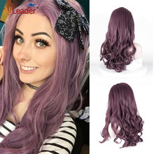 "Alileader 24""Lace Front Wig Colorful Wigs For Women Synthetic Ocean Wave Lace Wig Cosplay Afro Long Hair Middle Part Pink Violet(China)"