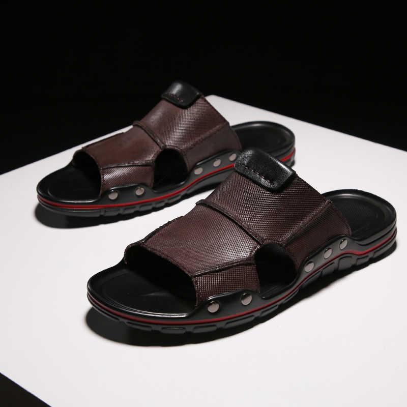 KATESEN yeni yaz erkek sandalet yumuşak deri terlik nefes kaymaz plaj ayakkabısı erkek terliği Zapatos Hombre erkek ayakkabıları