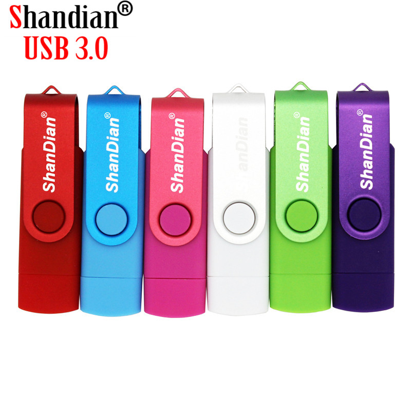 SHANDIAN USB 3.0 OTG USB Flash Drive 4GB 8GB 16GB 32GB 64GB Pendrive For Android Smart Phone Metal Usb Memory Stick