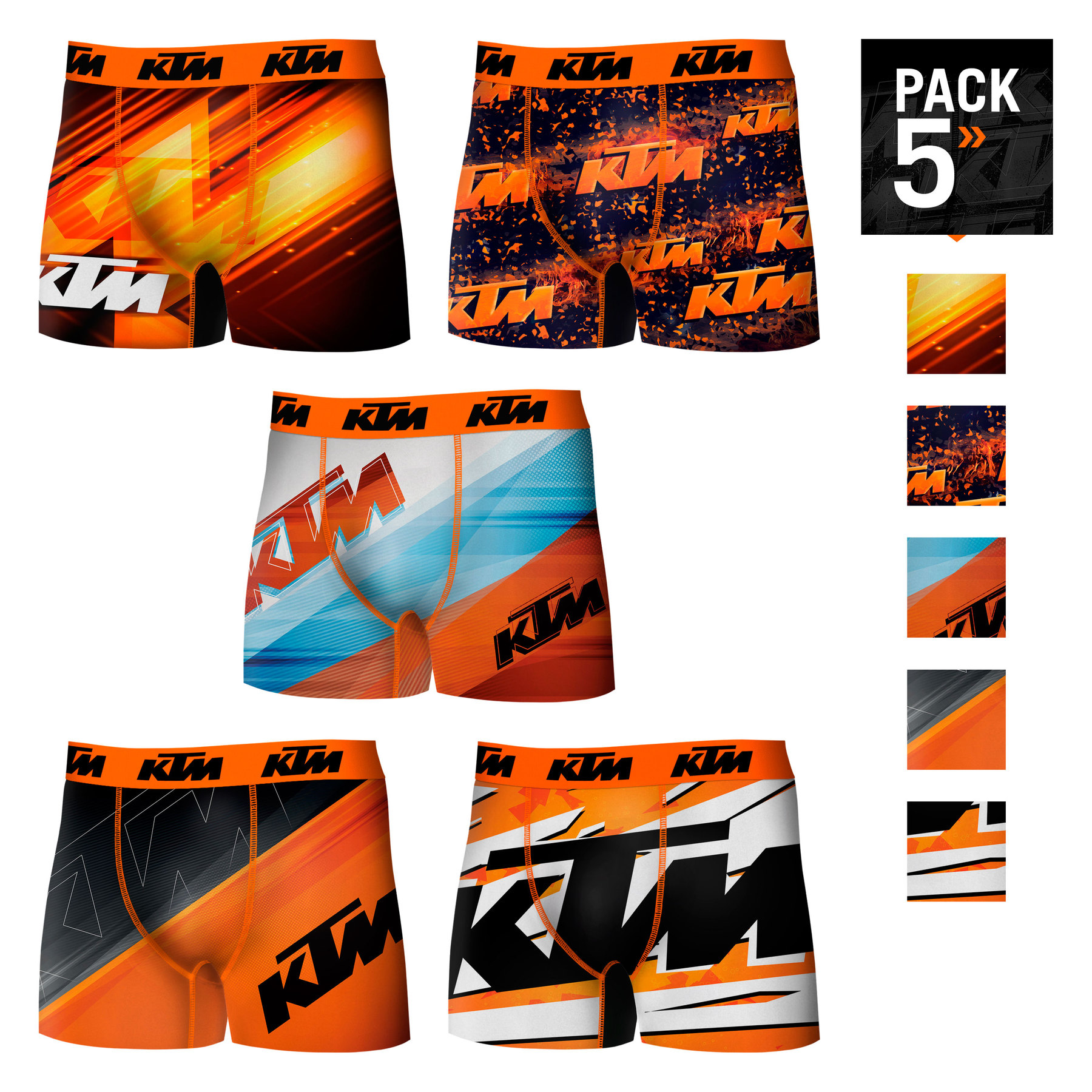 KTM Boxers Pack 5 Units Shocker Or Single Type Boxer For Men