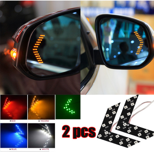 Car 2 Pcs/lot 14 SMD LED Arrow Panel For Car Rear View Mirror Indicator Turn Signal Light Car LED Rearview Mirror Light