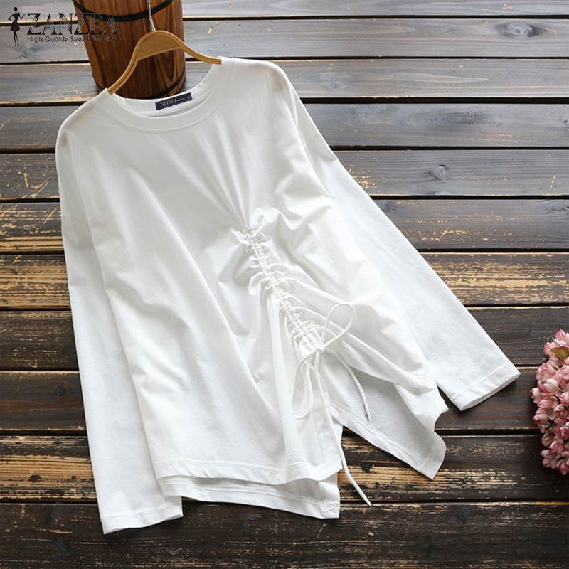 Blusas Top 2019 ZANZEA Autumn Party Tunic Tops Women Casual Long Sleeve Blouse Fashion Solid Drawstring Irregular Shirts Female
