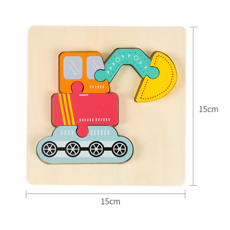 High quality baby 3D wooden puzzle educational toys early learning cognition kids cartoon grasp intelligence puzzle 6