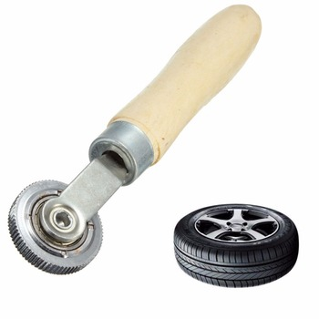 1PC Wooden Handle Tire Tyre Patch Roller Stitcher Puncture Repair Tube Tool Ball Bearing Car Truck Tyres Bicycle Repair Tools image