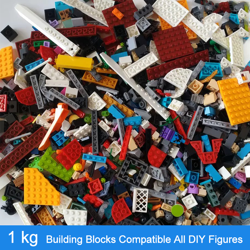 1KG Random DIY Building Blocks Sets City Creative Bricks Compatible  All Brands Classic Educational Assemble Toys For Children