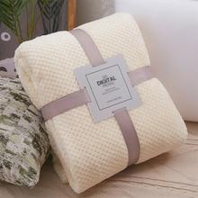 Мягкое однотонное одеяло коралловый флис ткань соты пледы одеяло s для дома путешествия постельные принадлежности для взрослых простыня диван Чехол Cobertor