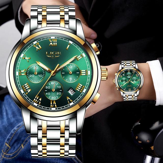 LIGE Top Brand Luxury Green Fashion Chronograph Male Sport Waterproof Clock 2